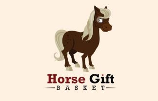 Horse Gift Basket Mascot Illustration
